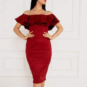 Privy Dress Midi Ruffle Off the Shoulder Red L